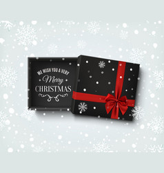 merry christmas design gift box with on winter vector image vector image