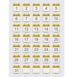 modern calendar icons set on gray vector image