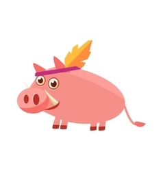 Pig Wearing Indian Head Gear vector image