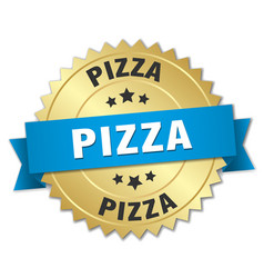 Pizza 3d gold badge with blue ribbon vector