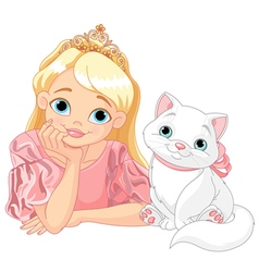 Princess and Cat vector image vector image