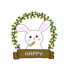 Rabbit in the red cherries round frame vector