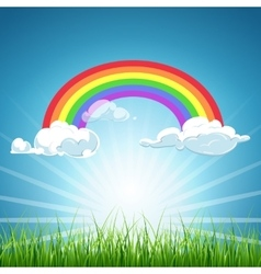 rainbow clouds blue sky and grass vector image vector image