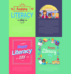 set of four placard literacy vector image