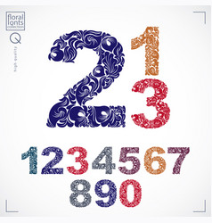 Set of ornate numbers flower-patterned vector