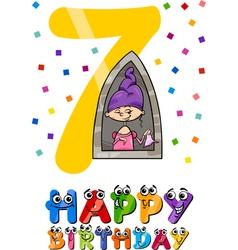 Seventh birthday cartoon design vector