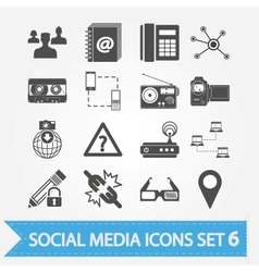 Social media icons set 6 vector image vector image