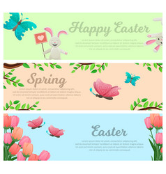 Spring and happy easter web banners set vector
