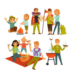 Tourists with happy children vector
