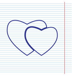two hearts sign navy line icon on vector image vector image