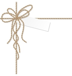 Background with rope bow and ribbons vector image