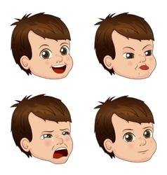 Set of cute little boy faces vector