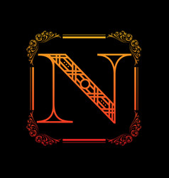 letter n with ornament vector image