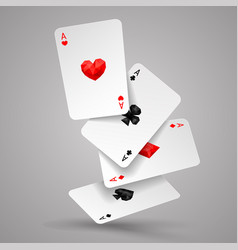 four aces playing cards fly or fall vector image