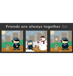 Friends are always together vector