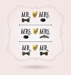 Black and golden abstract conceptual mr and mrs vector