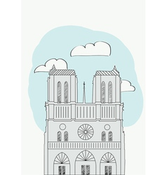Notre dame cathedral paris france vector