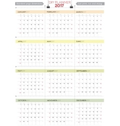 2017 diy calendar planner design week starts from vector