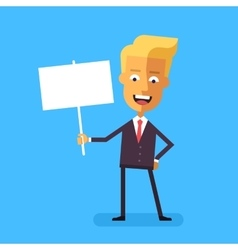 Handsome blond businessman holding banner vector