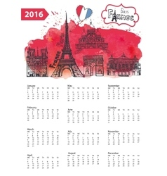 Calendar 2016paris landmarks panoramawatercolor vector