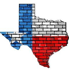 Texas map on a brick wall vector