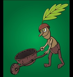 Forest man oak leaf pushing wooden handcart vector