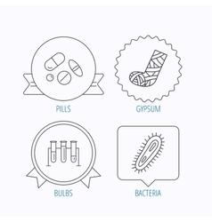 Broken foot bacteria and medical pills icons vector