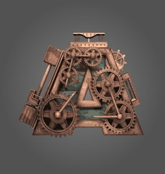 A rusted letter with gears vector