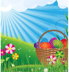 Basket with Easter eggs on a green meadow vector image vector image