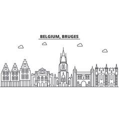 Belgium bruges architecture line skyline vector