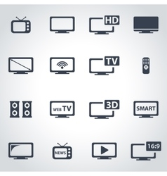 Black tv icon set vector