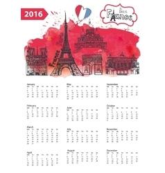 Calendar 2016Paris Landmarks panoramawatercolor vector image