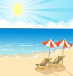 Cartoon beach chair and umbrella on tropical beach vector