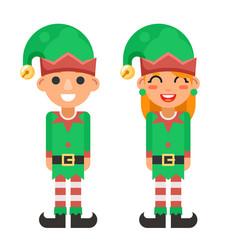 Cartoon flat design elf boy and girl characters vector