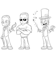 Cartoon magician security character set vector