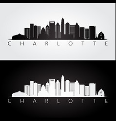 Charlotte usa skyline and landmarks silhouette vector