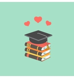 Education concept with mortarboard and books vector image vector image