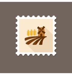 Field with a mill and wheat flat stamp vector