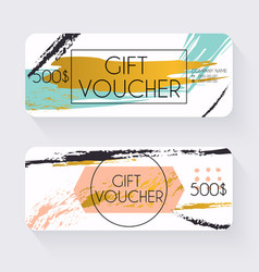 Gift voucher template with gold background Gift vector image vector image