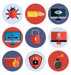 Hacking protection flat icon set vector