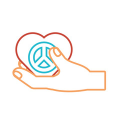 Herat with peace symbol icon vector