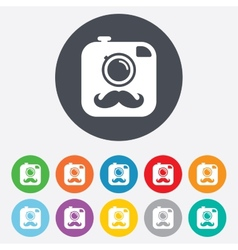 Hipster photo camera with mustache icon vector
