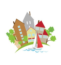 Houses on the waterfront vector image vector image