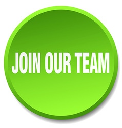 Join our team green round flat isolated push vector