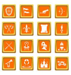Knight medieval icons set orange vector