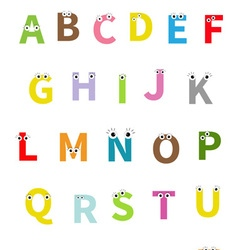 Letters with face eyes alphabet english abc vector