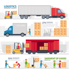 logistic infographic elements set with transport vector image vector image