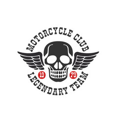 motorcycle club logo legendary team 1979 design vector image
