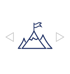 Mountain peak with flag icon vector