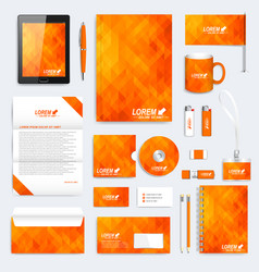 Orange set of corporate identity template vector